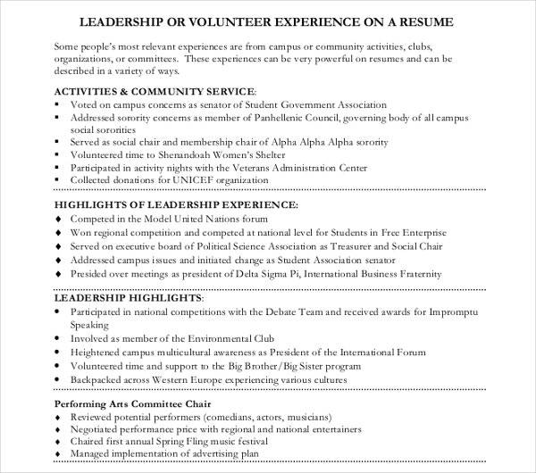 Leadership Volunteer Resume Template
