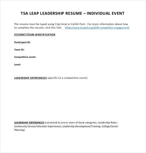 leap leadership resume template
