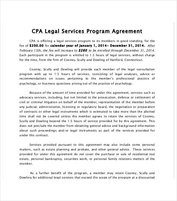 legal services program agreement