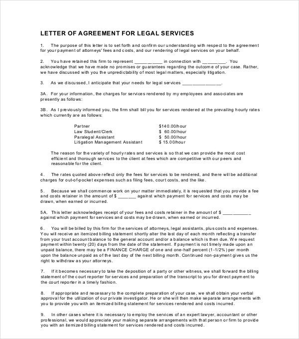 letter of agreement for legal services