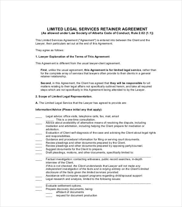 limited legal services retainer agreement