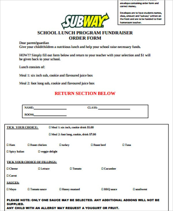 lunch program fundraiser form