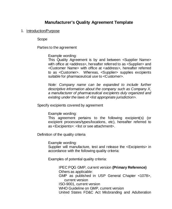Manufacturer's Quality Agreement Template