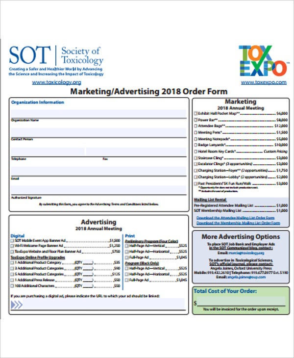 marketing or advertising order form