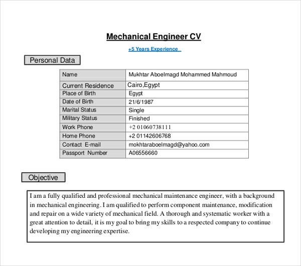 10  engineer curriculum vitae templates