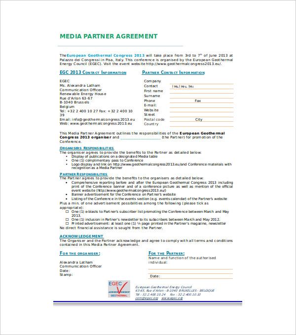 media partnership agreement