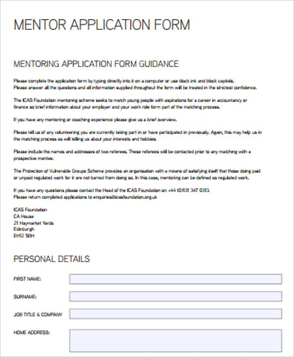mentor application form