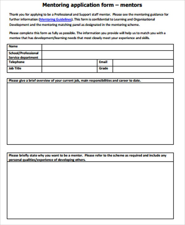 mentoring application form