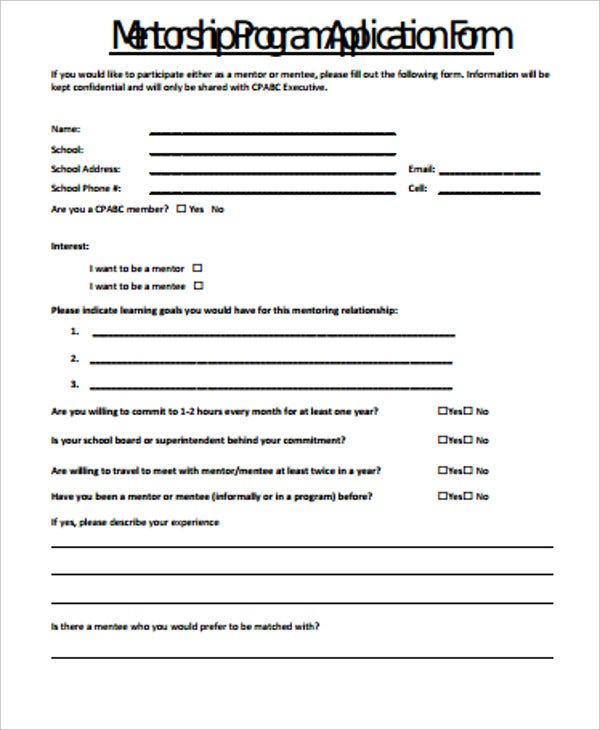 mentorship program application form