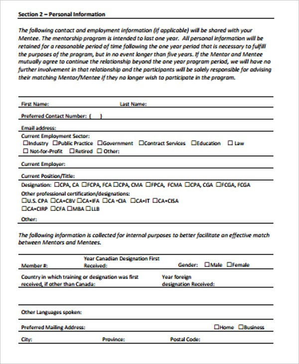 mentorship programs mentor application form