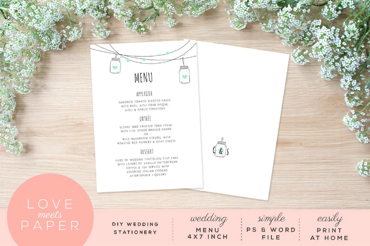 minimalist reception menu card template