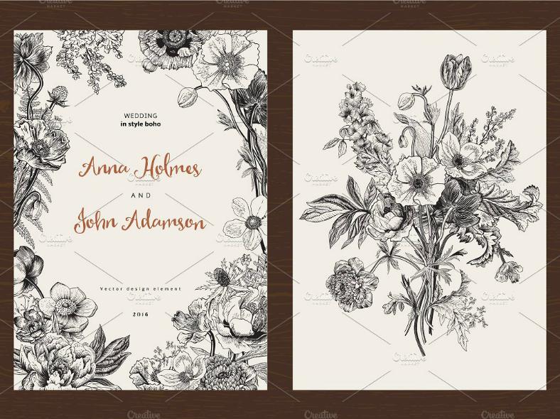 Minimalist Spring Wedding Invitation Template