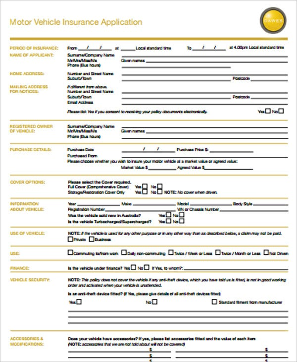 motor vehicle insurance application