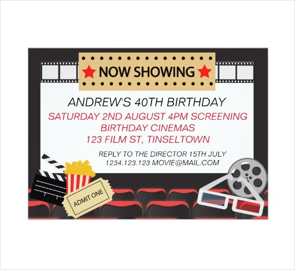 Movie Cinema Party Invitation