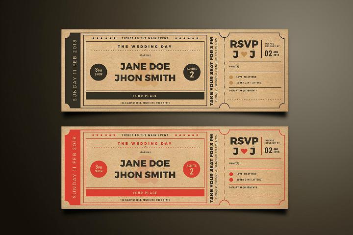 movie ticket printable wedding invitation template