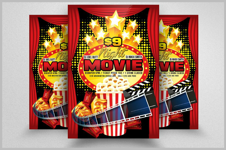 movie time popcorn menu flyer template