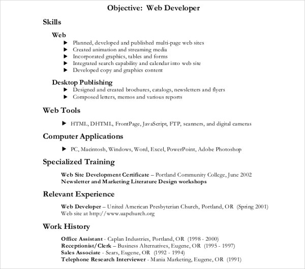 multi web developer resume template