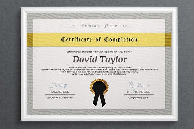 Multipurpose Completion Certificate