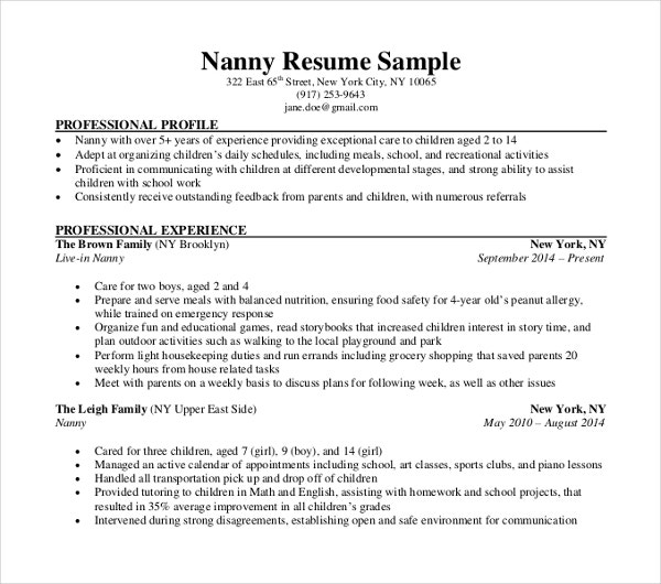 nanny resume template - Nanny Resume Template