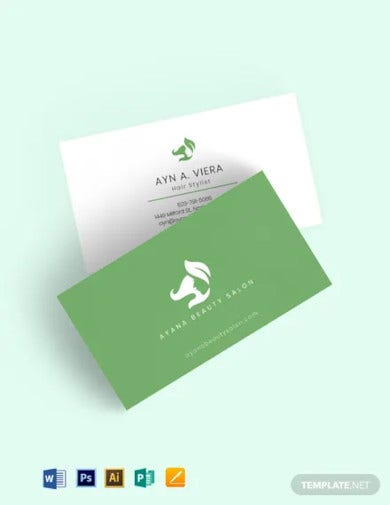 natural beauty salon business card template