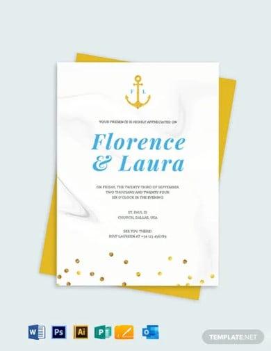 nautical wedding invitation template