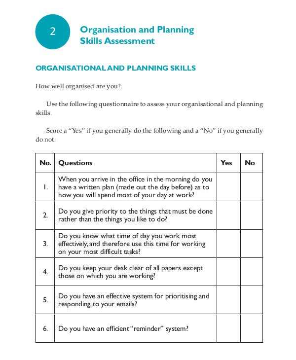 Organisation and Planning Skills Assessment