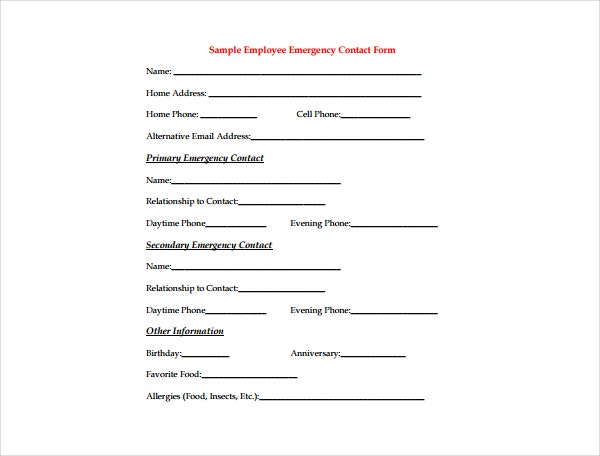 Organization Emergency Contact Form