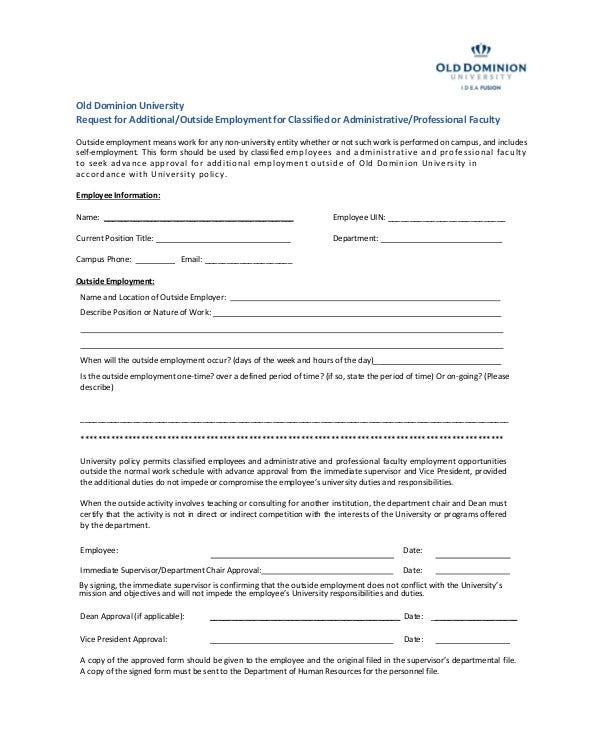 Outside Employee Information Form