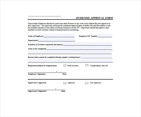 Overtime Approval Form