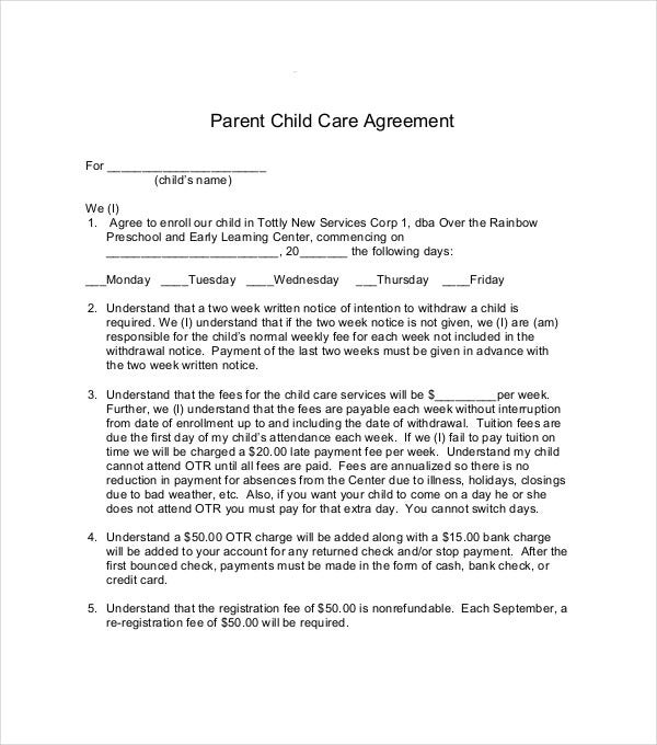 parent child care services agreement