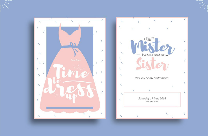 pastel wedding bridesmaid invitation card template
