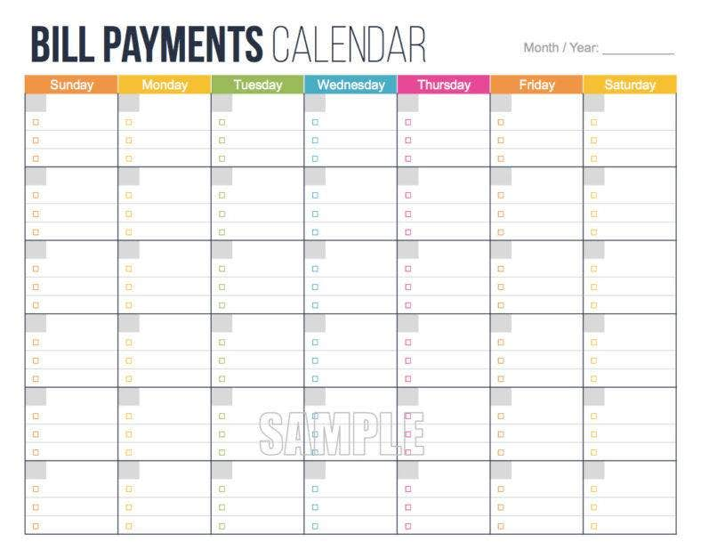 personal finance bill payments calendar 788x618