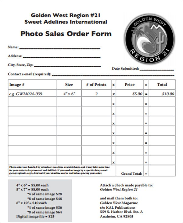 photo sales order form