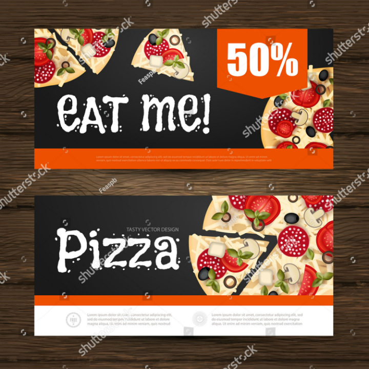 pizza restaurant voucher promo card template