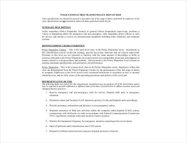 police dispatcher job description template