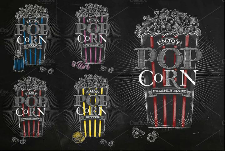 popcorn menu illustration template