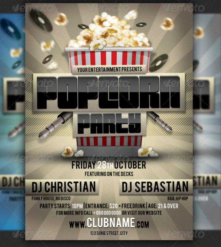 popcorn party menu flyer template