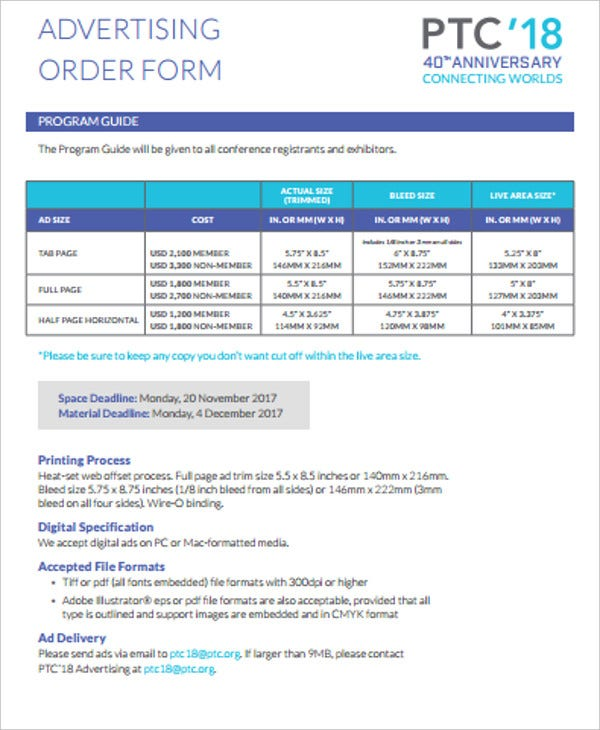 printable advertising order form
