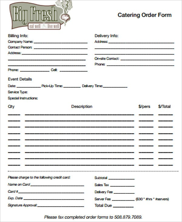 printable catering order form