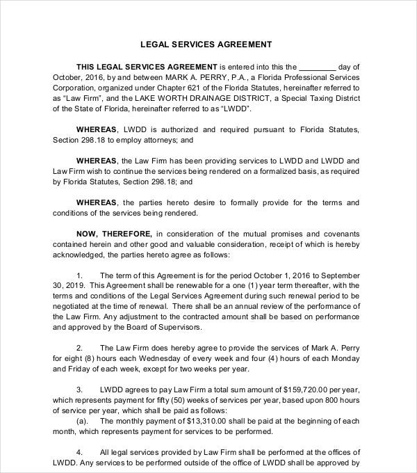 printable legal services agreement