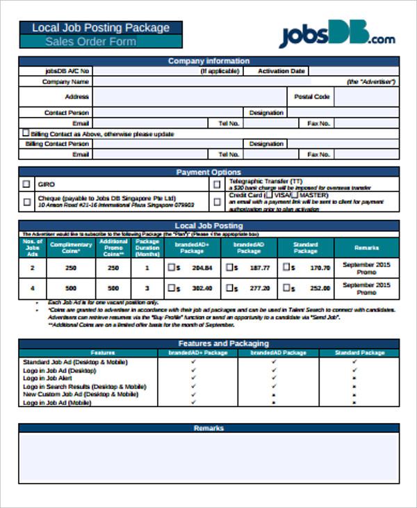 printable sales order form