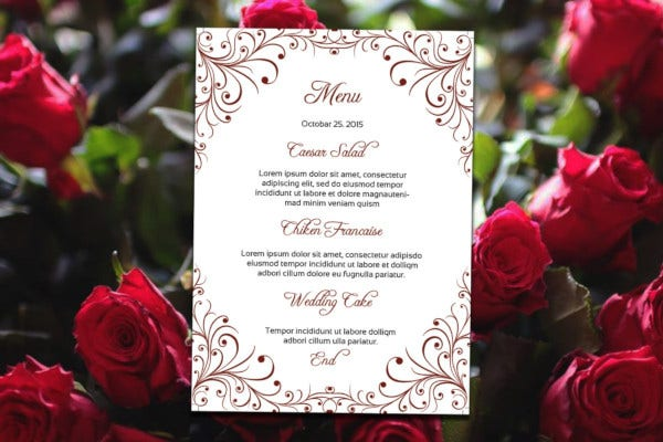printable wedding reception menu card template