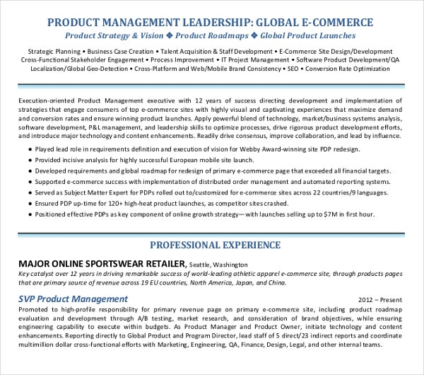 15 Project Manager Skills For Resumes Product Management: 24+ Printable Executive Resume Templates - PDF, DOC