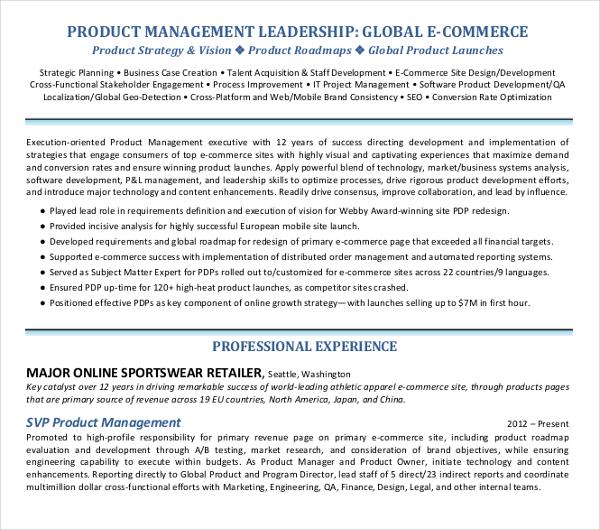 product management executive resume