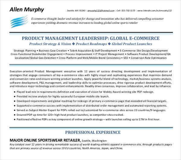 product management leadership resume template