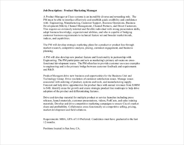 product marketing manager job description template