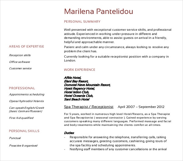 professional receptionist cv template