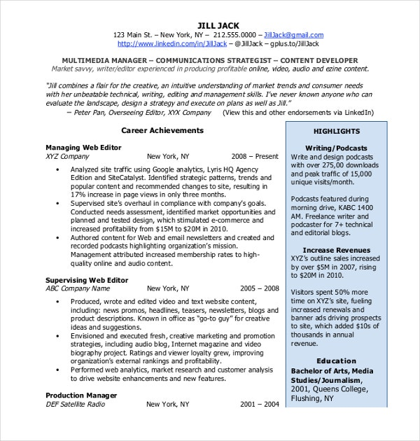 professional social media resume
