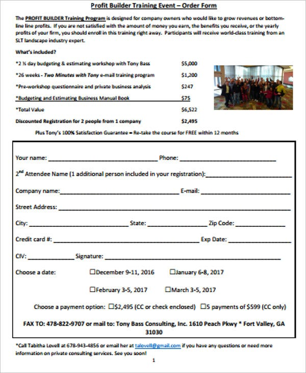 profit builder training event order form
