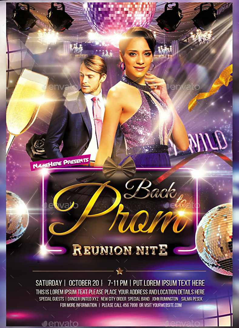 Prom Themed Reunion Night Flyer Template